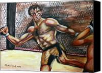 Ultimate Fighting Championship Mixed Media Canvas Prints - Forrest Griffin vs. Hector Ramirez Canvas Print by Michael Cook