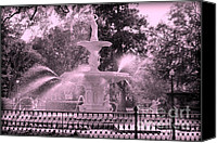 Savannah Square Canvas Prints - Forsyth Park Fountain in Pink Canvas Print by Carol Groenen
