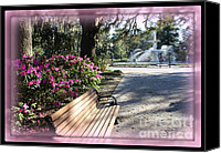 Savannah Square Canvas Prints - Forsyth Park in Spring Pink Canvas Print by Carol Groenen