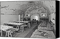 Colonial Kitchen Canvas Prints - Fort Macon Mess Hall BW 9078 Canvas Print by Michael Peychich