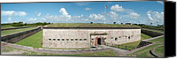 Court Yard Canvas Prints - Fort Macon panorama 1 Canvas Print by Michael Peychich