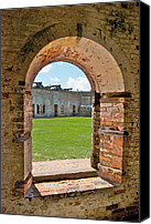 Court Yard Canvas Prints - Fort Macon State Park 9081 Canvas Print by Michael Peychich