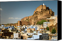 Old Town Canvas Prints - Fort Mehrangarh And Old Town In Jodhpur Canvas Print by Ania Blazejewska