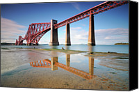 Puddle Canvas Prints - Forth Rail Bridge Canvas Print by Stu Meech