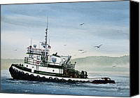 Tugboat Canvas Prints - FOSS Tugboat MARTHA FOSS Canvas Print by James Williamson