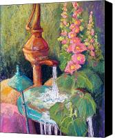 Pond Pastels Canvas Prints - Fountain and Hollyhocks Canvas Print by Candy Mayer