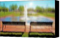 Park Benches Digital Art Canvas Prints - Fountain in City Park 3 Canvas Print by Steve Ohlsen