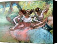 Girls Pastels Canvas Prints - Four ballerinas on the stage Canvas Print by Edgar Degas