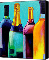Bottles Canvas Prints - Four Bottles Canvas Print by John  Nolan