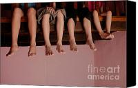 10:7 Canvas Prints - Four children on mezzanine Canvas Print by Sami Sarkis