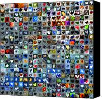 Grid Canvas Prints - Four Hundred and One Hearts Canvas Print by Boy Sees Hearts