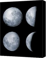 Crescent Moon Canvas Prints - Four Phases Of The Moon Canvas Print by Rolf Geissinger