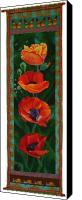 Painted Tapestries - Textiles Canvas Prints - Four Poppies Canvas Print by Grace Matthews