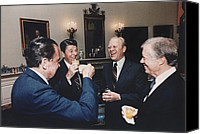 1980s Canvas Prints - Four Presidents Nixon Reagan Ford Canvas Print by Everett