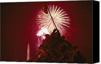 War Monuments And Shrines Canvas Prints - Fourth Of July Fireworks Over The Iwo Canvas Print by Medford Taylor