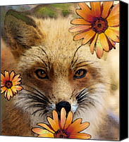 Woods Canvas Prints - Fox Art - Flower Girl Canvas Print by Sharon Cummings