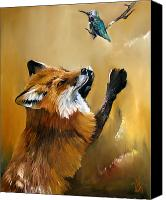 Baker Canvas Prints - Fox dances for Hummingbird Canvas Print by J W Baker