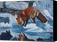 Fox Pastels Canvas Prints - Fox on ice Canvas Print by Dee Timm