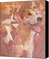 Foxhound Canvas Prints - FOXHOUND DUO and friends Canvas Print by Richard James Digance