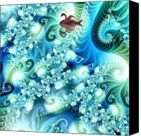 World Map Canvas Painting Canvas Prints - Fractal and swan Canvas Print by Odon Czintos