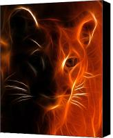Mountain Lion Digital Art Canvas Prints - Fractal Cougar Canvas Print by Wade Aiken