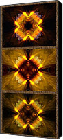 Triptych Canvas Prints - Fractal Triptych Canvas Print by Ellen Lacey