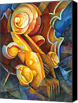 Keyboard Canvas Prints - Fractured Cello Canvas Print by Susanne Clark