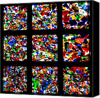 Coloured Glass Glass Art Canvas Prints - Fractured Squares Canvas Print by Meandering Photography