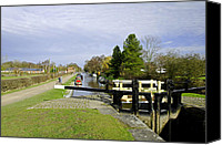 Waterway Canvas Prints - Fradley Middle Lock No. 18 Canvas Print by Rod Johnson