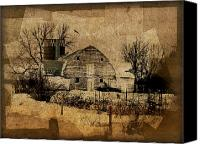 Old Digital Art Canvas Prints - Fragmented Barn  Canvas Print by Julie Hamilton