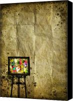Burnt Canvas Prints - Frame On Old Paper Canvas Print by Setsiri Silapasuwanchai