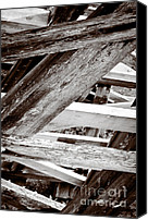 Black And White Photo Canvas Prints - FRAMEWORK kinsol trestle wooden frame in abstract black and white Canvas Print by Andy Smy