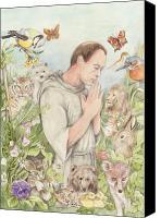 Assisi Canvas Prints - Francis of Assisi with the Animals Canvas Print by Morgan Fitzsimons