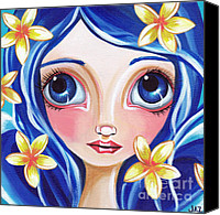 Teen Painting Canvas Prints - Frangipani Fairy Canvas Print by Jaz Higgins