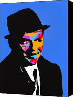 Frank Sinatra Drawings Canvas Prints - Frank Feeling Blue Canvas Print by Robert Margetts