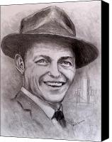 Frank Sinatra Drawings Canvas Prints - Frank Canvas Print by Jack Skinner