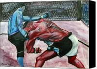 Ultimate Fighting Championship Mixed Media Canvas Prints - Frank Mir vs. Brock Lesnar Canvas Print by Michael Cook