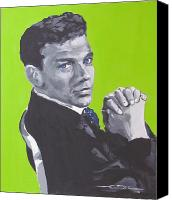 Frank Sinatra Drawings Canvas Prints - Frank Sinatra Blue Canvas Print by Eric Dee