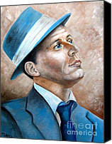 New York Music Canvas Prints - Frank Sinatra Ol Blue Eyes Canvas Print by Patrice Torrillo