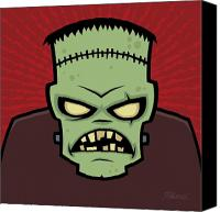 Halloween Digital Art Canvas Prints - Frankenstein Monster Canvas Print by John Schwegel