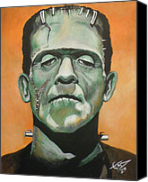 Monster Painting Canvas Prints - Frankenstein Canvas Print by Tom Carlton