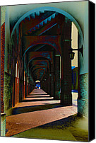 Football Digital Art Canvas Prints - Franklin Field Concourse Arch Canvas Print by Bill Cannon