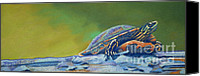 Pond Pastels Canvas Prints - Franks Turtle Canvas Print by Tracy L Teeter