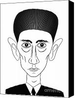 Caricature Canvas Prints - Franz Kafka Canvas Print by Michal Boubin
