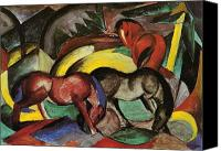 Wildhorses Canvas Prints - Franz Marc  Canvas Print by Three Horses