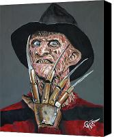 Glove Painting Canvas Prints - Freddy Kruger Canvas Print by Tom Carlton