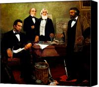 Civil War Painting Canvas Prints - Frederick Douglass appealing to President Lincoln Canvas Print by War Is Hell Store