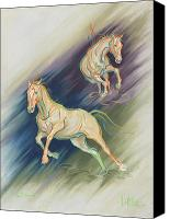 Equine Pastels Canvas Prints - Free Expression Canvas Print by Kim McElroy