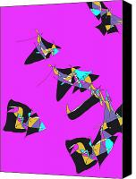 Kites Digital Art Canvas Prints - Free kites Canvas Print by Valerie Benedetti