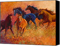 Cowboy Canvas Prints - Free Range - Wild Horses Canvas Print by Marion Rose